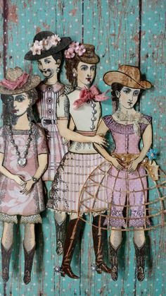 Created by Brenda Enright using Character Constructions Doll Stamps by Catherine Moore. The Blue Daisy Collection.