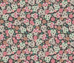 Sugar Skulls - Color fabric by bohemiangypsyjane on Spoonflower - custom fabric