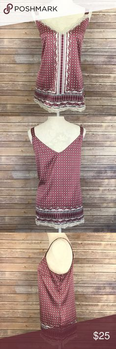 "WHBM Silky V-Neck Lace Trim Lattice Tank Top XL A1 Bust: 22.5"" Length: 28""  Side button closure   Condition: No Rips; No Stains  96% Polyester 4% Spandex   📦I ship orders within 24 Hours! {Except Weekends}📦  🚫No Trades🚫No Holds🚫 Tops Tank Tops"