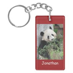 "Keychain, Rectangular Double Sided Panda, Red - This keychain is part of our ""Panda"" collection, which includes other gift items, such as kindle covers, phone cases, small jewelry boxes...We even have a matching greeting card and wrapping paper!  See matching products at www.zazzle.com/SocolikCardShop*.  A great stocking stuffer for Christmas.  This item has a panda and personalization on the front, and a solid red to match on the back. All Rights Reserved © 2013 Alan & Marcia Socolik."