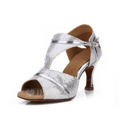 [US$ 21.99] Women's Sparkling Glitter Heels Sandals Latin With Buckle Dance Shoes (053052420)
