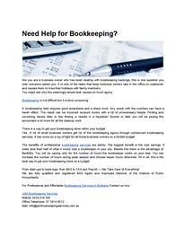 Need Help for Bookkeeping