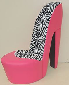 Charmant PINK STILETTO SHOE HIGH HEEL CHAIR ANIMAL ZEBRA