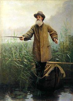 Ivan Nikolaevich Kramskoy (1837-1887) - Portrait of Apollon Maikov (1821-97) Fishing, 1883