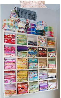 Organized fabric storage for craft room