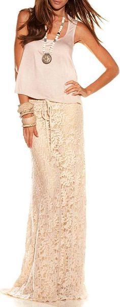 Boho Lace Maxi Skirt I love long skirts! Look Boho, Bohemian Style, Boho Chic, Hippie Chic, Casual Chic, Casual Wear, Lace Maxi, Lace Skirt, Lace Dress