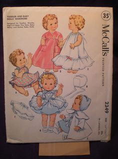 McCall's 2349  1959 Dolls' Clothes  Really Adorable by Clutterina