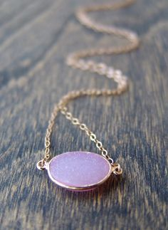 Baby Pink Druzy Agate Necklace.