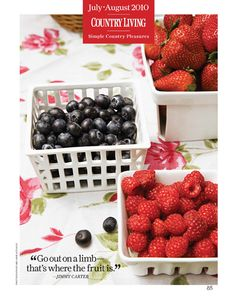 """""""Go out on a limb--that's where the fruit is."""" - Jimmy Carter Berry Baskets, Tasty, Yummy Food, Food Hacks, Food Tips, Food Ideas, Learn To Cook, Simple Pleasures, Health Diet"""