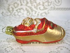 """GLASS GOLD & RED PUG DOG IN A SHOE MARKED CHRISTBORN 3 & 1/4"""" WITOUT HOOK"""