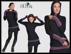 hoodie black with purple gauntlets Product no.: hoodie black with purple gauntlets the hoodie has purple gauntlets in fleece with thumb hole long cutted, comfortable to wear black material: cotton purple material: fleece Elf, Tights And Boots, Junior Outfits, Wearing Black, Black Hoodie, My Wardrobe, Color Blocking, Trending Outfits, Design Inspiration