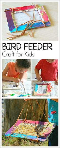 Easy Homemade Bird Feeder Craft for Kids- Combine art and the outdoors in this simple birdfeeder activity! ~ BuggyandBuddy.com