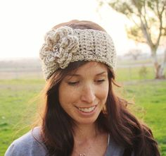 Winter Crochet Headband Earwarmer in Oatmeal