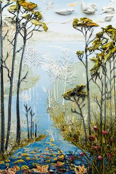 """Lake Scene"" acrylic painting by Justin Gaffrey"