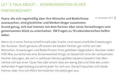 LET´S TALK ABOUT… KOMMUNIKATION IN DER PARTNERSCHAFT