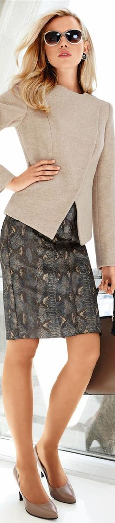 Madeleine Fall 2014 New Arrivals. Love the jacket. Love a pencil skirt BUT not the print.