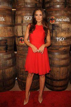 Minka Kelly is ravishing in red at Bacardi Anniversary bash