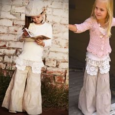 Soft with beautiful lace for little girls. I like the lace for/as pocket detail on flowy pants.