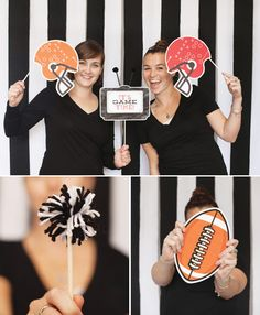 FootBall Theme: DIY Football Party Photo Booth Idea (Referee Stripe Backdrop + Themed Props) or use a Party Store Football Themed Table Covering (super bowl sunday Football Banquet, Football Themes, Football Parties, Football Stuff, Football Referee, Football Decor, Tailgate Parties, Basketball, Super Bowl Party