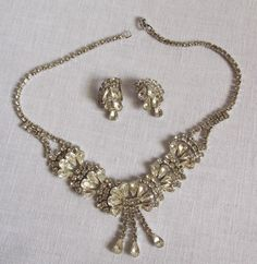 Stunning Clear Rhinestone Necklace and Clip Earring Set From Estate #Unbranded