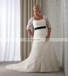 Spectacular A-line Square Half-Sleeve Floor-length Chapel Sash Appliques Plus Size Wedding Dresses