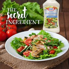 The secret ingredient for a great salad is always Kraft Roka Blue Cheese Dressing. #KraftRD #Salad #Dressing #BlueCheese