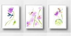 Water lily dragonfly Set of 3 print watercolor painting purple
