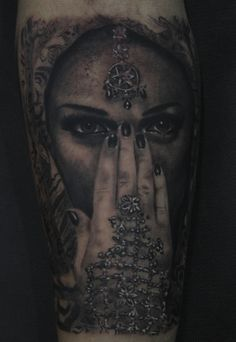 TATTOO REALISM, black & grey, face, hand, arabic-oriental woman