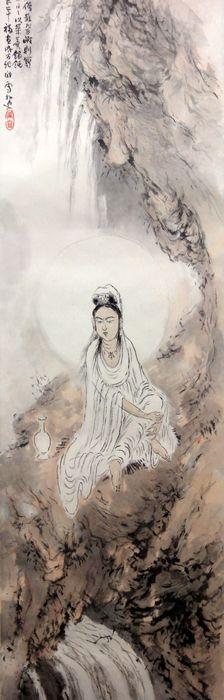 Hashimoto Kansetsu 橋本関雪 (1883-1945), Kannon, detail.