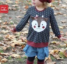 Shirt Mieze mit Reh-Applikation, Leggings Beinschmeicheleien, Stulpenliebe und Mütze Lilou von Rosarosa, Bubble Pocket Shorts von E & E Patterns