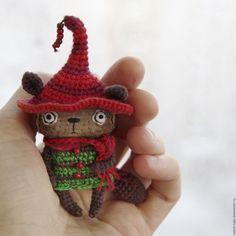 Купить Лесной котик Колпачок - котик, гном, карманная игрушка, брошь, лесной кот, эльф
