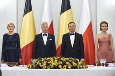 King Philippe of Belgium and Queen Mathilde of Belgium, Polish President Andrzej Duda and First Lady Agata Kornhauser-Duda while official dinner at Presidential Palace as part of official Royal visit in Poland on October 13, 2015 in Warsaw, Poland