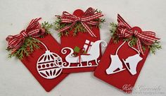 KC-Fast and Easy Tags-I have some fast and easy tags to share with you today. I love how crisp white images look against a red background for Christmas projects. The addition of a multi loop gingham bow and a few evergreen sprigs are the perfect finish. I used the Impression Obsession Skates, Ornament Flourish and the Savvy Dies Deer and Sleigh for the main images -