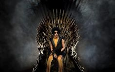 Prince. On his royal throne... http://en.wikipedia.org/wiki/Game_of_Thrones#Fandom OBAMA http://comicbook.com/blog/2014/05/04/game-of-thrones-president-barack-obama-takes-the-iron-throne/