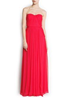 Silk strapless gown - MANGO