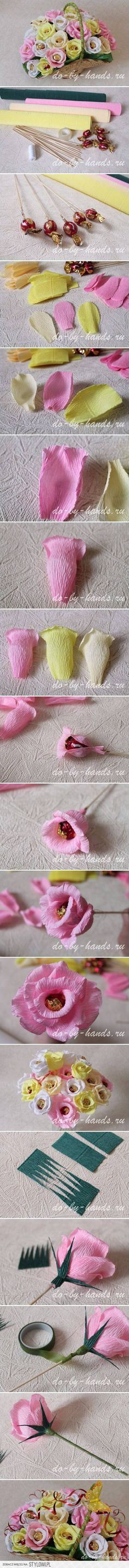 DIY Paper Roses with Candy DIY Projects | UsefulDIY.com na Stylowi.pl
