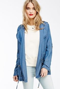 Forever 21 Life In Progress Hooded Chambray Coat | theglitterguide.com