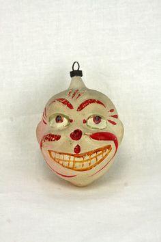 Antique German Blown Glass Christmas Ornament Clown Face ca1910