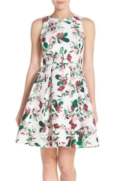 Gabby Skye Fruit & Floral Print Cutout Back Jacquard Fit & Flare Dress available at #Nordstrom