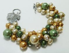 Cluster Pearl Bracelet  Ivory forest green gold and by Eienblue on etsy.com