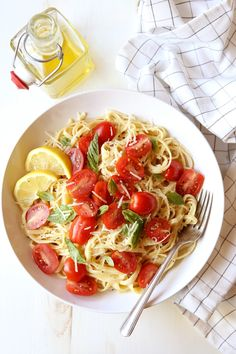 Lemon Pasta with Tomatoes and Basil
