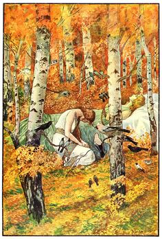 'The Funeral in the Birch Grove' - Illus. by Artuš Scheiner for Vyšehrad by Julius Zeyer