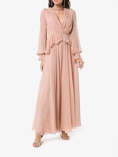 79794b7a43ce96 Giambattista Valli v-neck long sleeve silk maxi dress Giambattista Valli