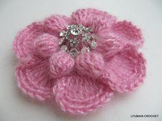 Crochet Flower PATTERN-Crochet Brooch-DIY Gift-Mohair-Flower