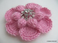 Crochet Brooch Crochet Flower Brooch Unique by LyubavaCrochet,
