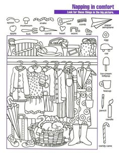 Printable Coloring Pages For Kids Hidden Pictures Worksheet Clothes Printable Coloring Pages, Coloring Pages For Kids, Coloring Books, Preschool Worksheets, Preschool Activities, Hidden Pictures Printables, Hidden Picture Puzzles, Hidden Words In Pictures, Kids Learning