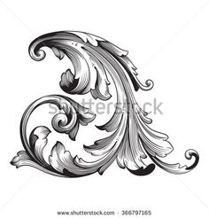 Vintage baroque frame scroll ornament engraving border floral retro pattern antique style acanthus foliage swirl decorative design element filigree calligraphy vector Cool Wrist Tattoos, Mom Tattoos, Tattoos For Guys, Sleeve Tattoos, Kunst Tattoos, Tattoo Drawings, Baroque Frame, Motif Arabesque, Filigree Tattoo