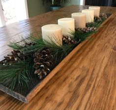 ✔ Christmas Centerpieces For Table Tray Nordic Christmas Decorations, Christmas Table Centerpieces, Christmas Table Settings, Rustic Centerpieces, Table Decorations, Christmas Crafts, Christmas Tables, Christmas Wood, Party Centerpieces