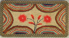 Maine hooked and braided rug on linen. C 1870