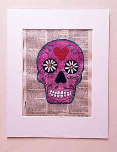 PINK SKULL Day Of The Dead Original Painting Pop Graffiti Mexican Dictionary Art #PopArt
